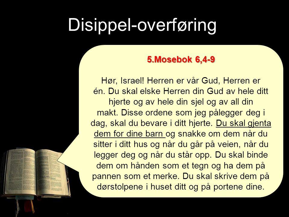 5.Mosebok 6,4-9 Hør, Israel! Herren er vår Gud, Herren er én. Du skal elske Herren din Gud av hele ditt hjerte og av hele din sjel og av all din makt.