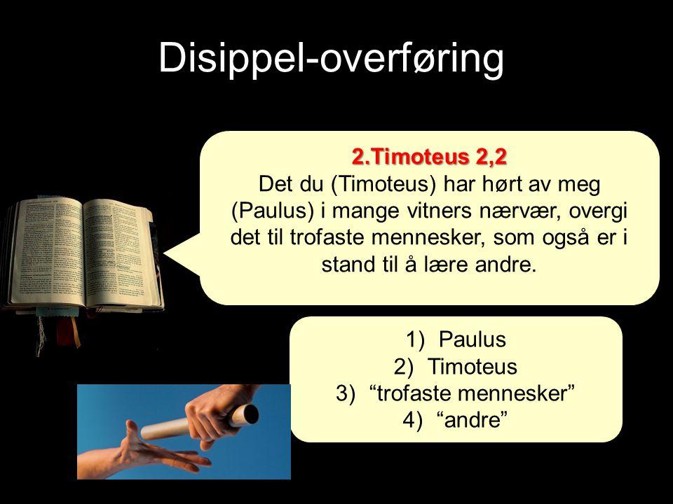Disippel-overføring 2.Timoteus 2,2 Det du (Timoteus) har hørt av meg (Paulus) i mange vitners nærvær, overgi det til trofaste mennesker, som også er i