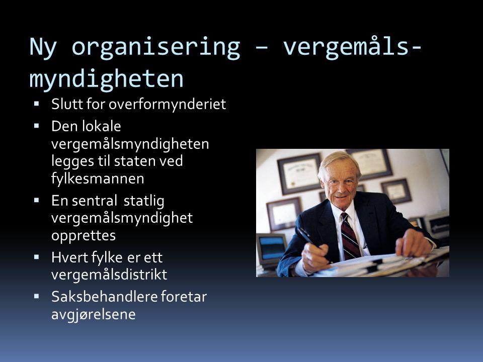Dagens organisering - overformynderiet  Ett overformynderi i hver kommune  To valgte overformyndere og ev. fast formann ( jurist )  Tar avgjørelsen