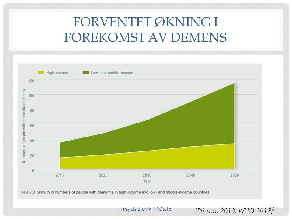FORVENTET ØKNING I FOREKOMST AV DEMENS (Prince. 2013; WHO 2012) Frøydis Bruvik 19.03.1516