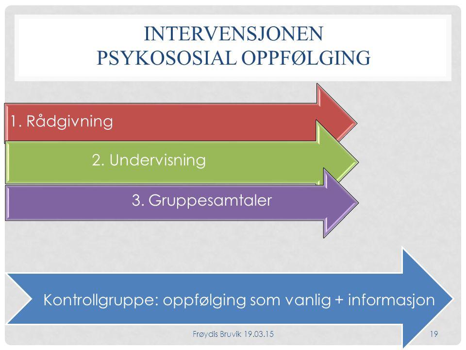 INTERVENSJONEN PSYKOSOSIAL OPPFØLGING 1.Rådgivning 2.