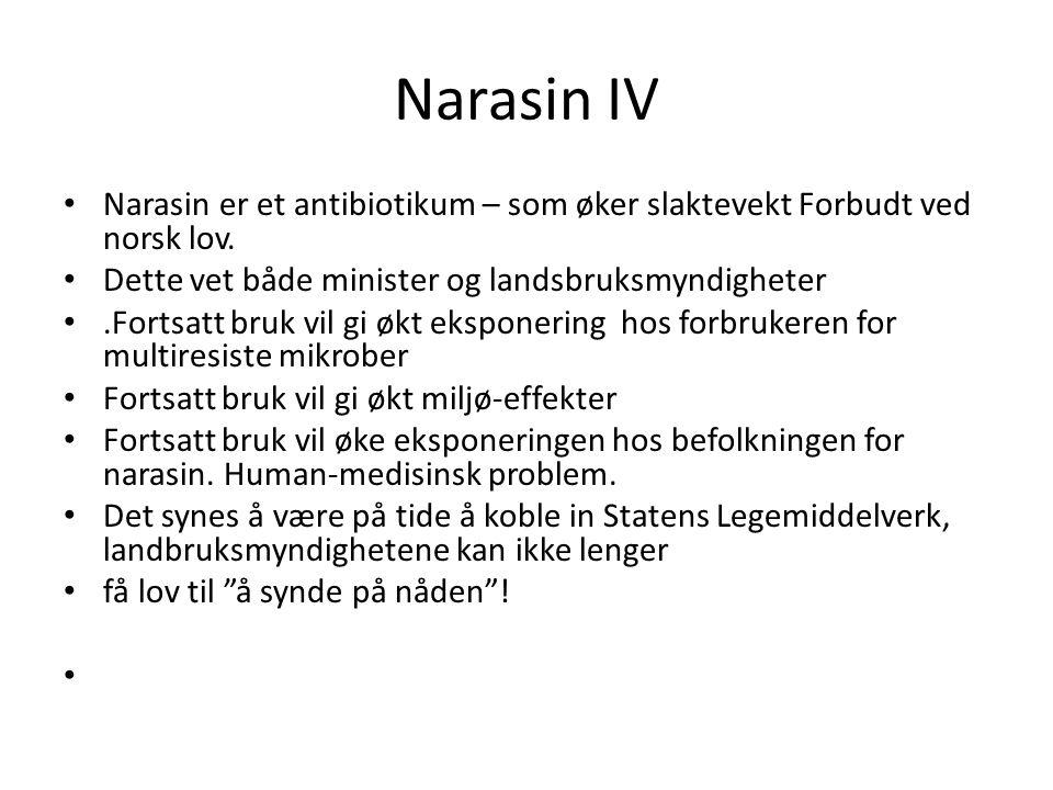 Narasin IV Narasin er et antibiotikum – som øker slaktevekt Forbudt ved norsk lov. Dette vet både minister og landsbruksmyndigheter.Fortsatt bruk vil