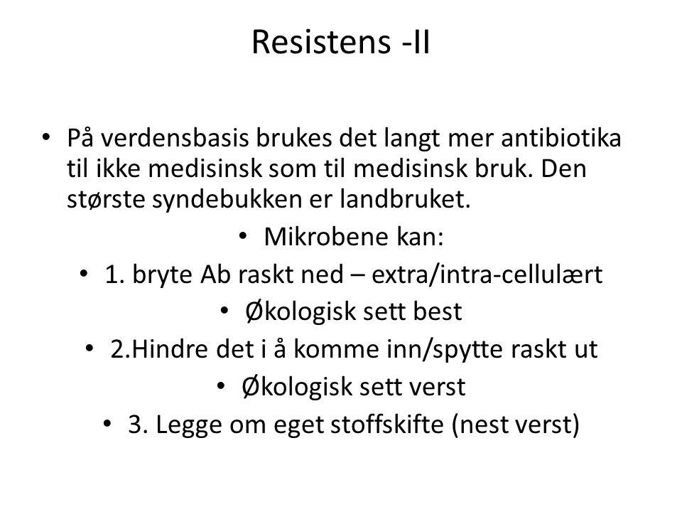 Resistens -II På verdensbasis brukes det langt mer antibiotika til ikke medisinsk som til medisinsk bruk. Den største syndebukken er landbruket. Mikro