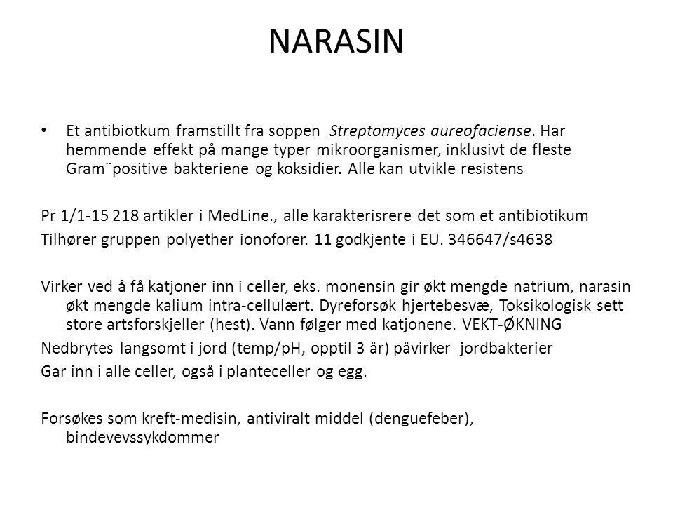 NARASIN Et antibiotkum framstillt fra soppen Streptomyces aureofaciense. Har hemmende effekt på mange typer mikroorganismer, inklusivt de fleste Gram¨