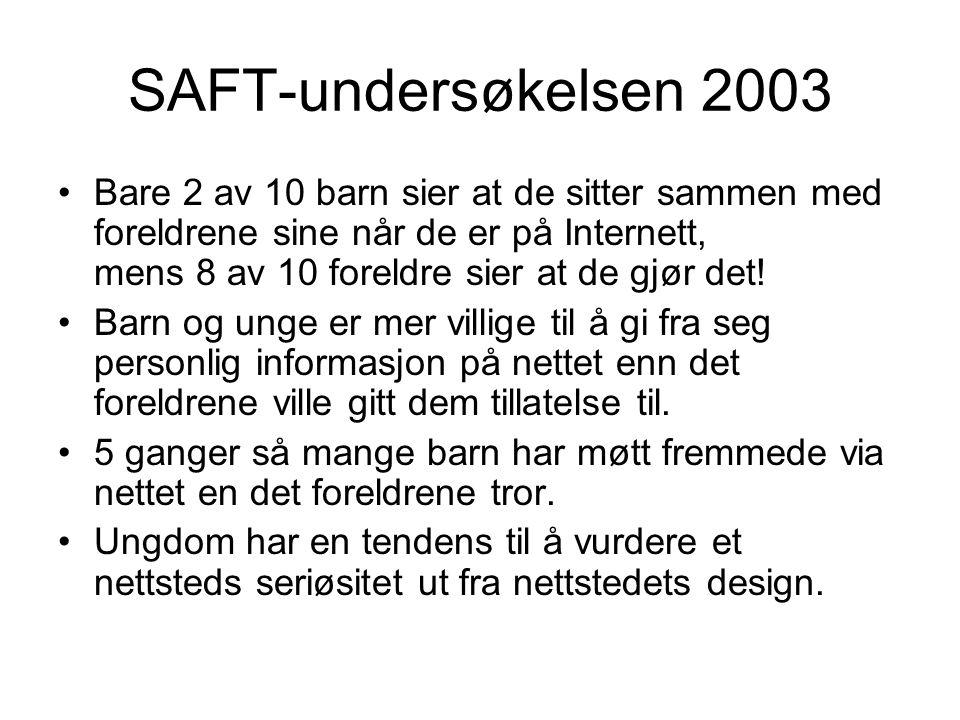 SAFT-undersøkelsen 2003 Bare 2 av 10 barn sier at de sitter sammen med foreldrene sine når de er på Internett, mens 8 av 10 foreldre sier at de gjør det.
