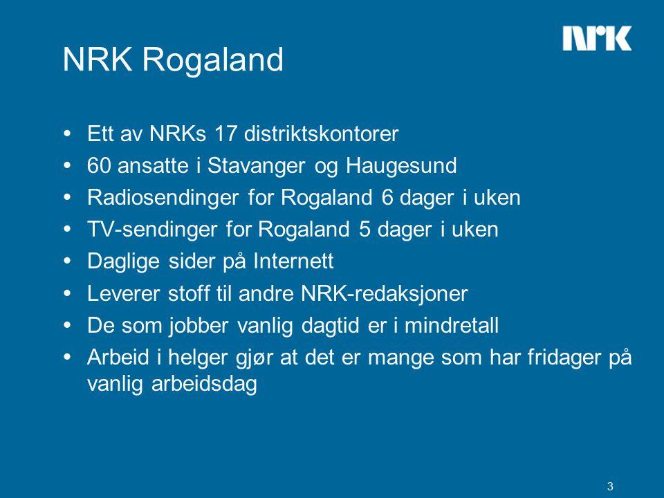 3 NRK Rogaland  Ett av NRKs 17 distriktskontorer  60 ansatte i Stavanger og Haugesund  Radiosendinger for Rogaland 6 dager i uken  TV-sendinger for Rogaland 5 dager i uken  Daglige sider på Internett  Leverer stoff til andre NRK-redaksjoner  De som jobber vanlig dagtid er i mindretall  Arbeid i helger gjør at det er mange som har fridager på vanlig arbeidsdag