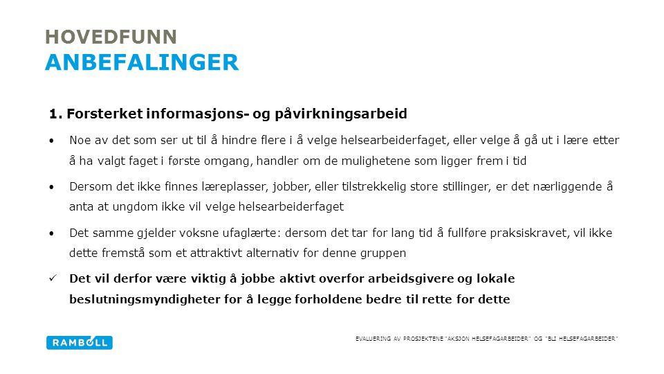 EVALUERING AV PROSJEKTENE AKSJON HELSEFAGARBEIDER OG BLI HELSEFAGARBEIDER 1.