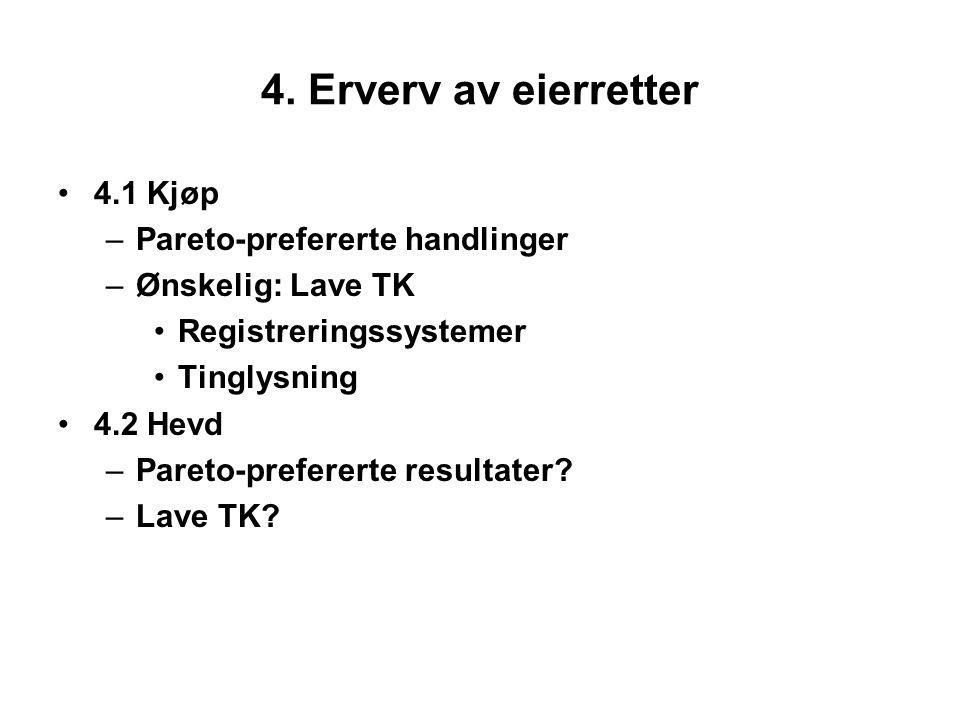 4. Erverv av eierretter 4.1 Kjøp –Pareto-prefererte handlinger –Ønskelig: Lave TK Registreringssystemer Tinglysning 4.2 Hevd –Pareto-prefererte result