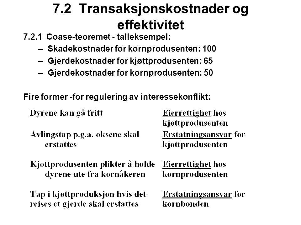 7.2 Transaksjonskostnader og effektivitet 7.2.1 Coase-teoremet - talleksempel: –Skadekostnader for kornprodusenten: 100 –Gjerdekostnader for kjøttprodusenten: 65 –Gjerdekostnader for kornprodusenten: 50 Fire former -for regulering av interessekonflikt:
