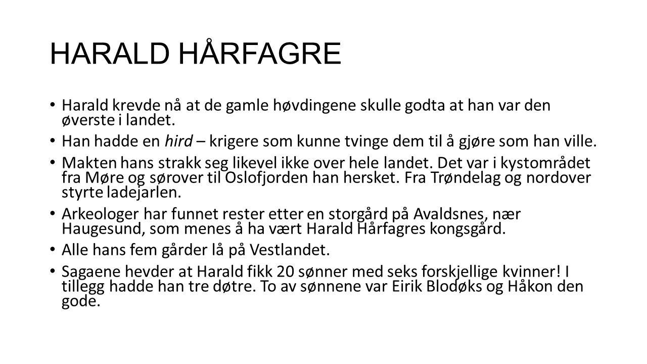 HARALD HÅRFAGRE Harald krevde nå at de gamle høvdingene skulle godta at han var den øverste i landet. Han hadde en hird – krigere som kunne tvinge dem