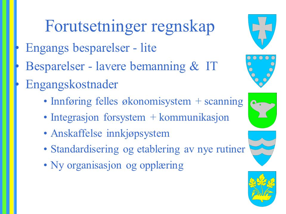 Forutsetninger regnskap Engangs besparelser - lite Besparelser - lavere bemanning & IT Engangskostnader Innføring felles økonomisystem + scanning Inte