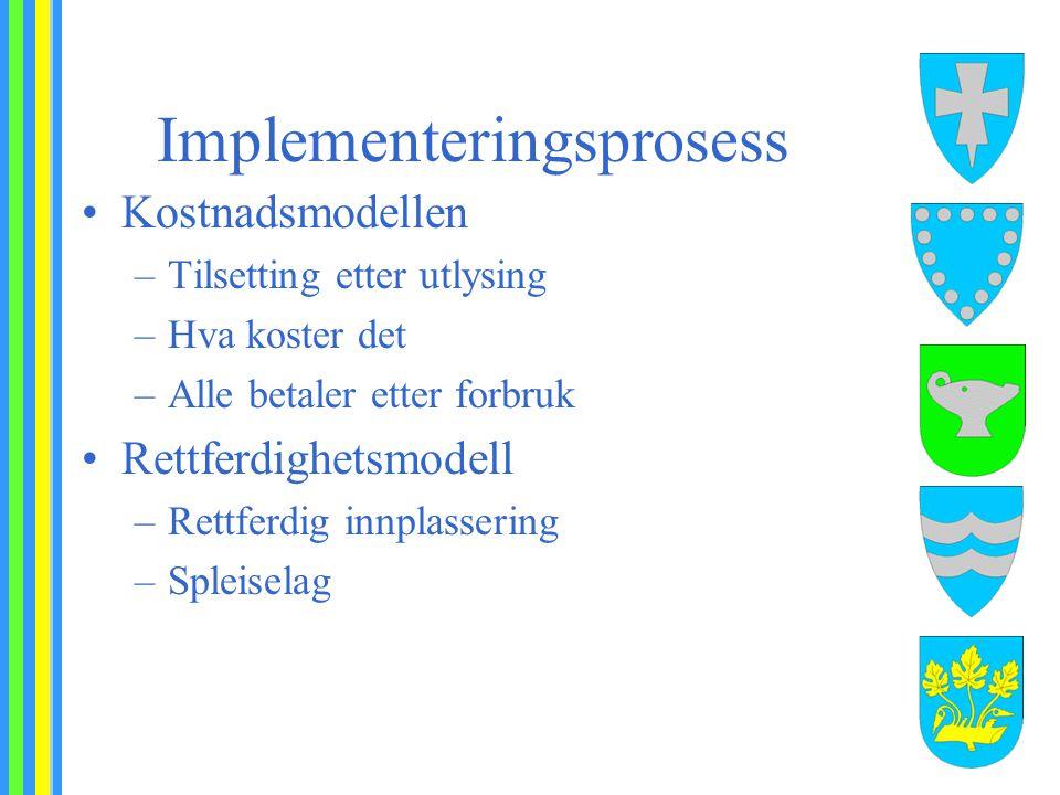 Implementeringsprosess Kostnadsmodellen –Tilsetting etter utlysing –Hva koster det –Alle betaler etter forbruk Rettferdighetsmodell –Rettferdig innpla