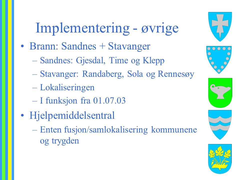 Implementering - øvrige Brann: Sandnes + Stavanger –Sandnes: Gjesdal, Time og Klepp –Stavanger: Randaberg, Sola og Rennesøy –Lokaliseringen –I funksjo