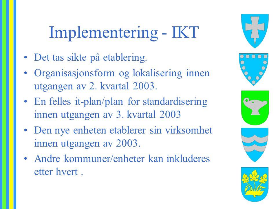 Implementering - IKT Det tas sikte på etablering. Organisasjonsform og lokalisering innen utgangen av 2. kvartal 2003. En felles it-plan/plan for stan