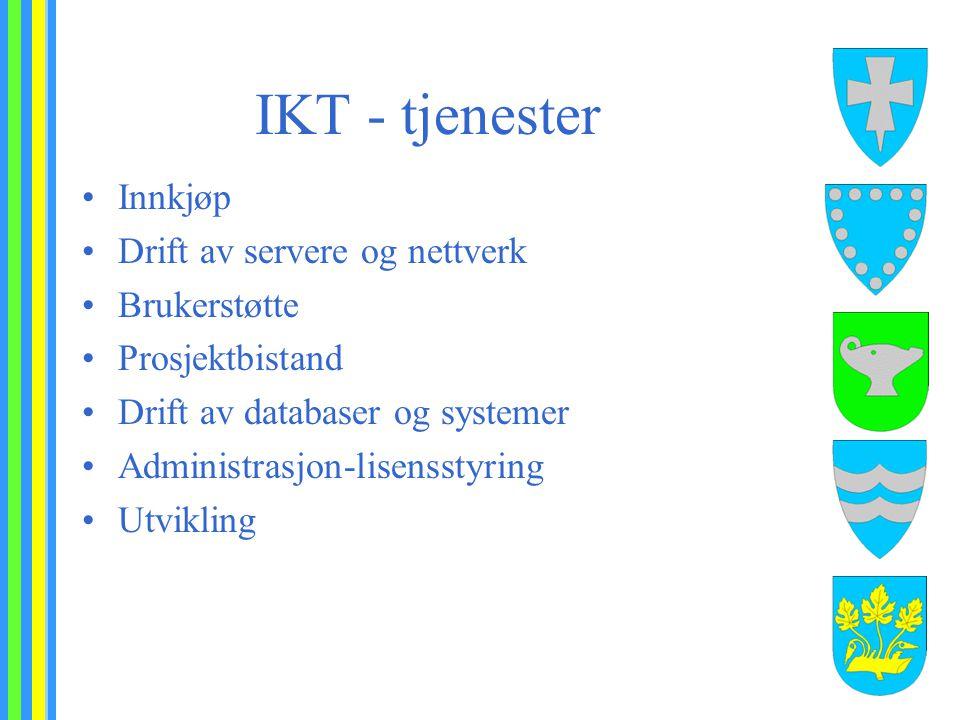 IKT - tjenester Innkjøp Drift av servere og nettverk Brukerstøtte Prosjektbistand Drift av databaser og systemer Administrasjon-lisensstyring Utvikling
