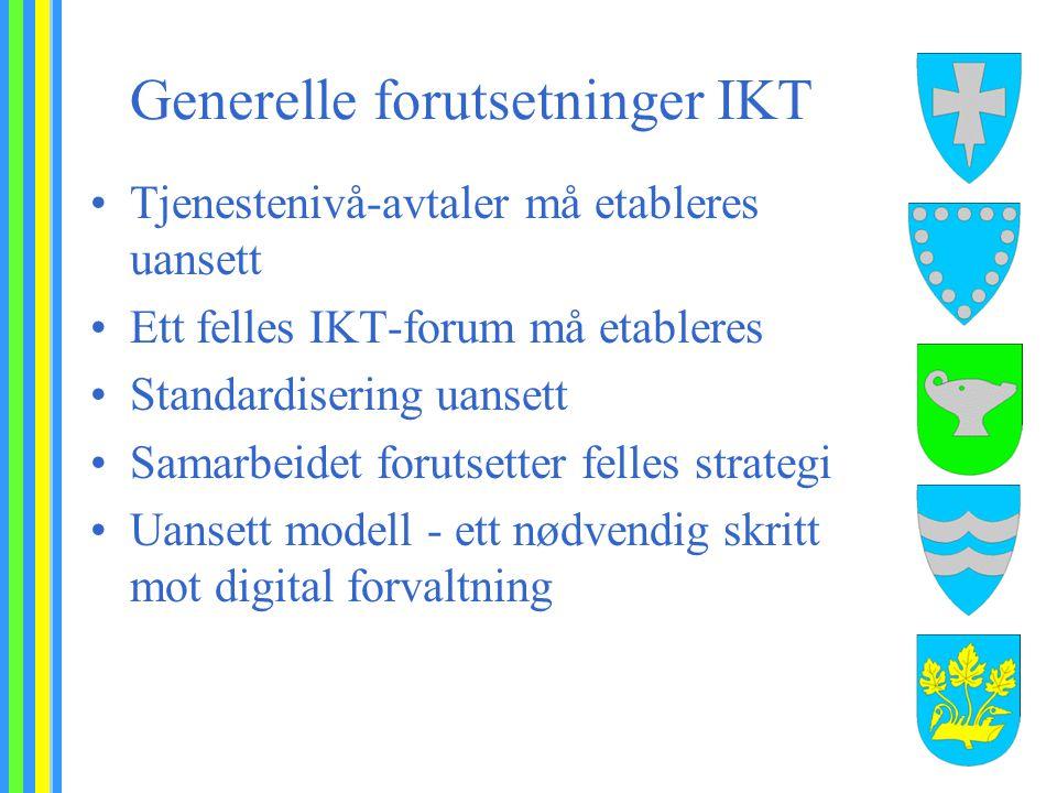 Generelle forutsetninger IKT Tjenestenivå-avtaler må etableres uansett Ett felles IKT-forum må etableres Standardisering uansett Samarbeidet forutsetter felles strategi Uansett modell - ett nødvendig skritt mot digital forvaltning