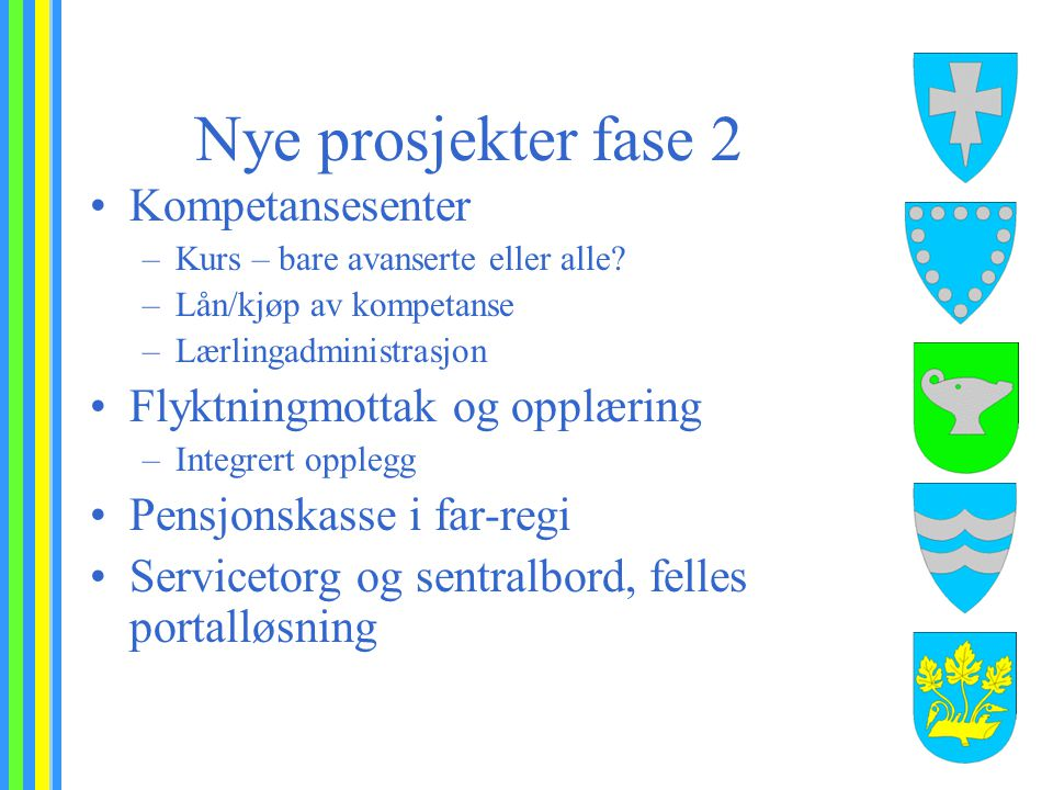 Nye prosjekter fase 2 Kompetansesenter –Kurs – bare avanserte eller alle? –Lån/kjøp av kompetanse –Lærlingadministrasjon Flyktningmottak og opplæring
