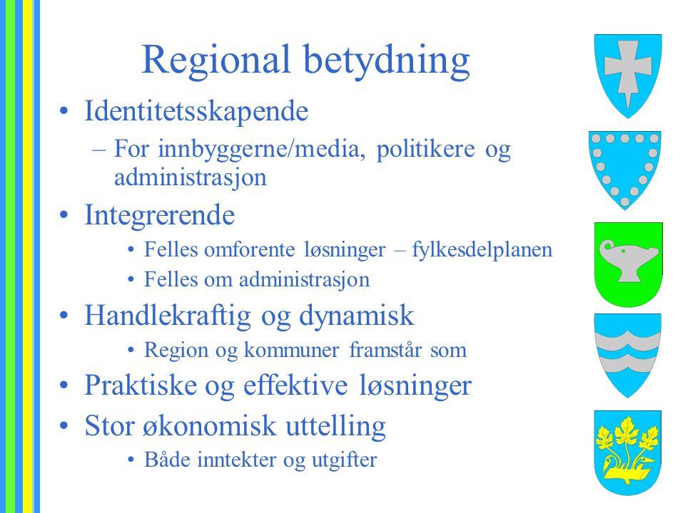 Regional betydning Identitetsskapende –For innbyggerne/media, politikere og administrasjon Integrerende Felles omforente løsninger – fylkesdelplanen F