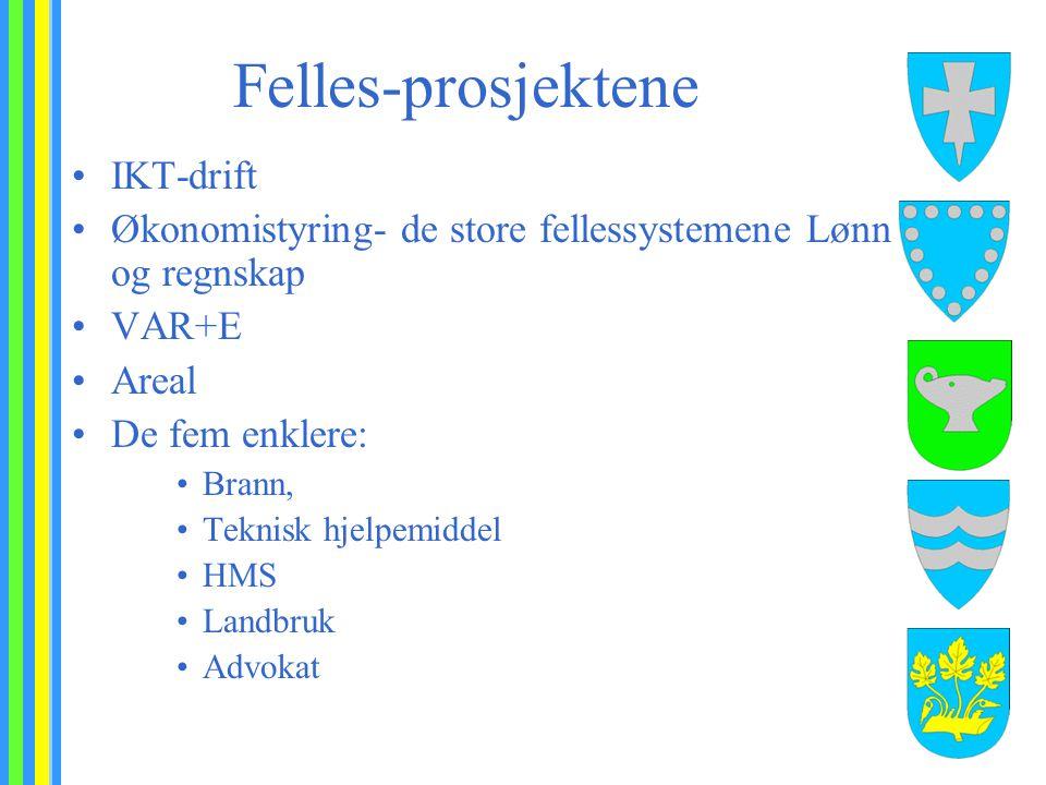 Felles-prosjektene IKT-drift Økonomistyring- de store fellessystemene Lønn og regnskap VAR+E Areal De fem enklere: Brann, Teknisk hjelpemiddel HMS Landbruk Advokat