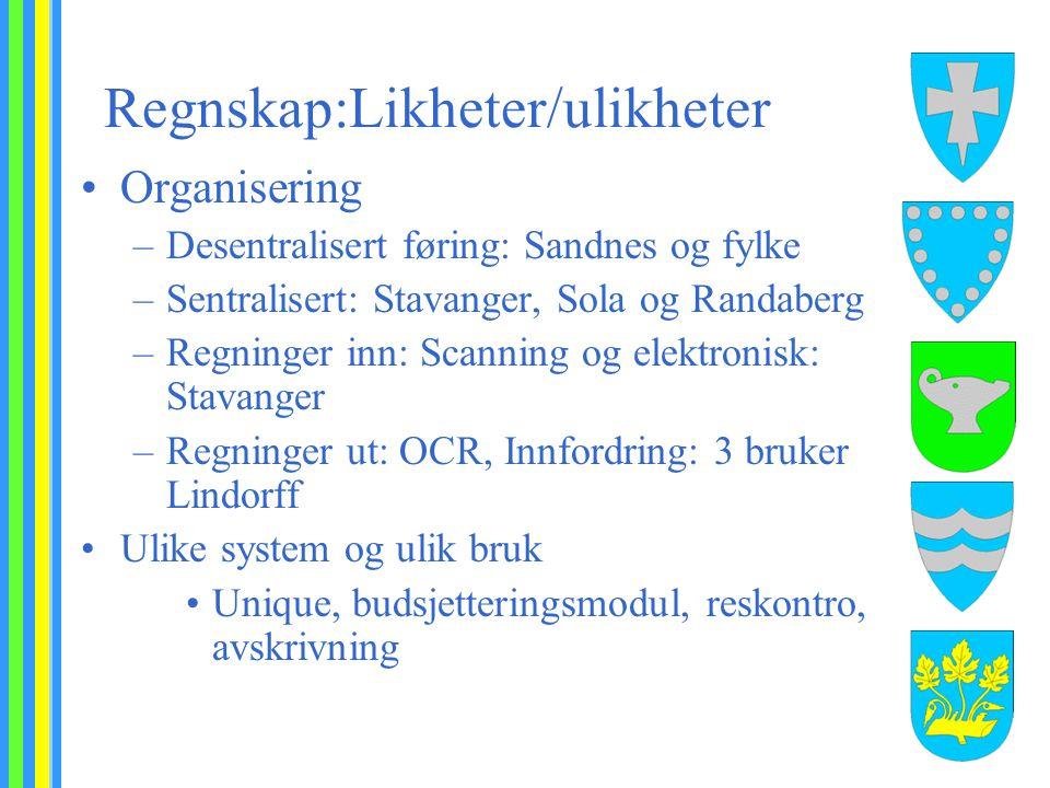 Regnskap:Likheter/ulikheter Organisering –Desentralisert føring: Sandnes og fylke –Sentralisert: Stavanger, Sola og Randaberg –Regninger inn: Scanning
