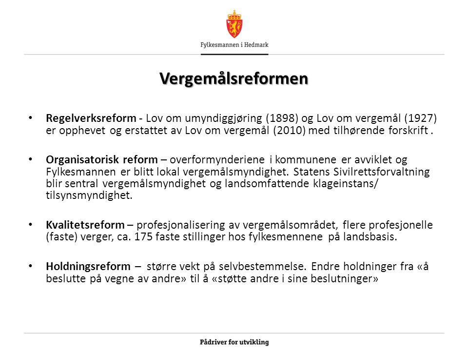 Vergemålsreformen Regelverksreform - Lov om umyndiggjøring (1898) og Lov om vergemål (1927) er opphevet og erstattet av Lov om vergemål (2010) med tilhørende forskrift.
