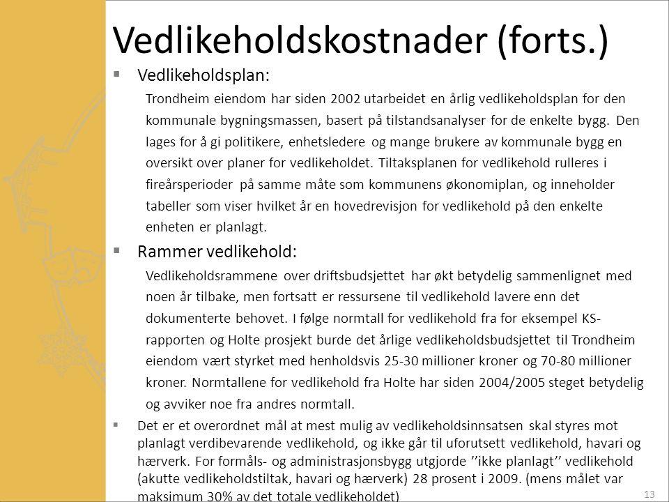 Vedlikeholdskostnader (forts.)  Vedlikeholdsplan: Trondheim eiendom har siden 2002 utarbeidet en årlig vedlikeholdsplan for den kommunale bygningsmas
