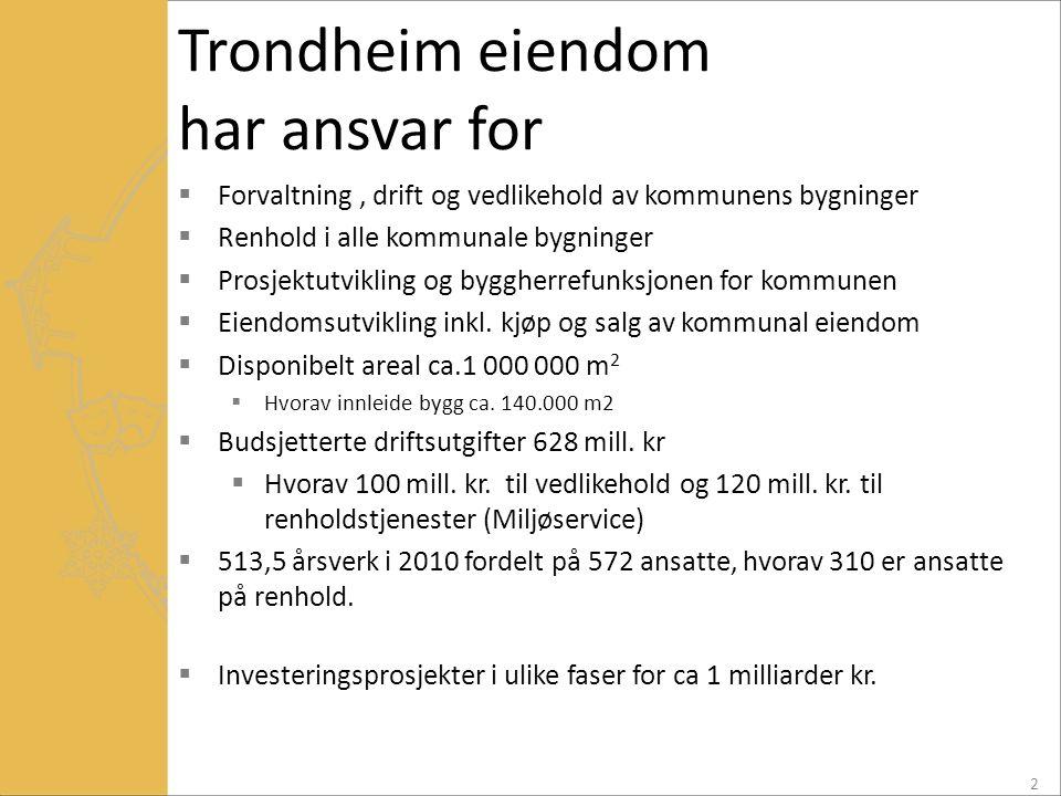 Trondheim eiendom har ansvar for  Forvaltning, drift og vedlikehold av kommunens bygninger  Renhold i alle kommunale bygninger  Prosjektutvikling o