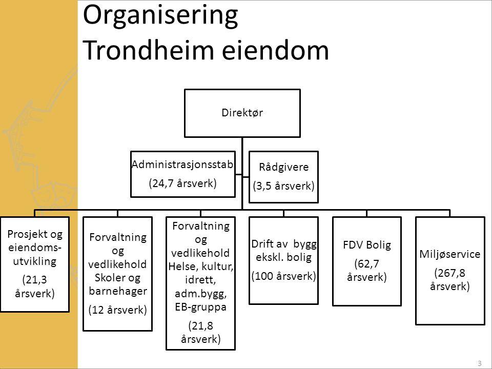 Organisering Trondheim eiendom Direktør Prosjekt og eiendoms- utvikling (21,3 årsverk) Forvaltning og vedlikehold Skoler og barnehager (12 årsverk) Fo