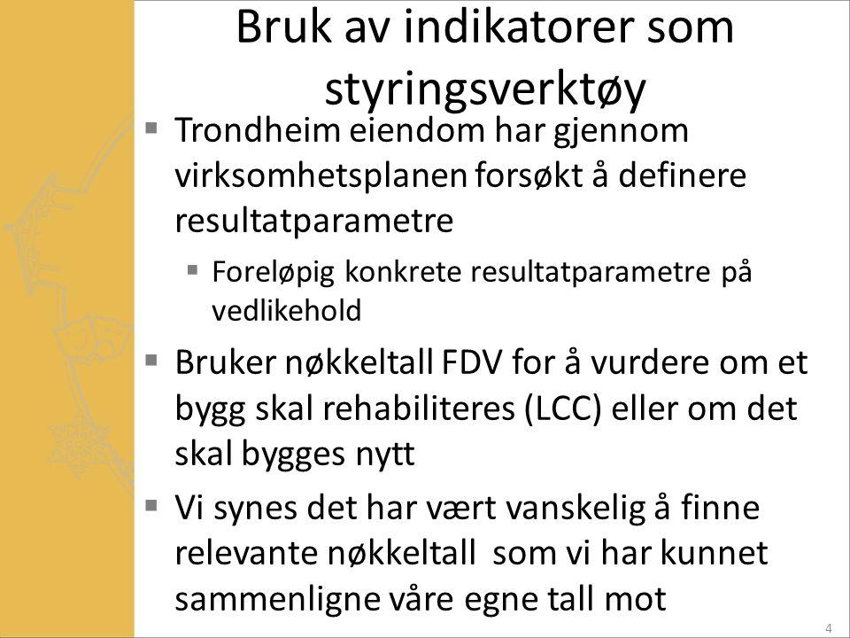 Bruk av indikatorer som styringsverktøy  Trondheim eiendom har gjennom virksomhetsplanen forsøkt å definere resultatparametre  Foreløpig konkrete re