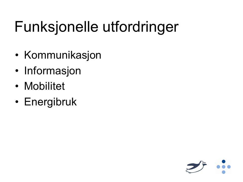 Funksjonelle utfordringer Kommunikasjon Informasjon Mobilitet Energibruk