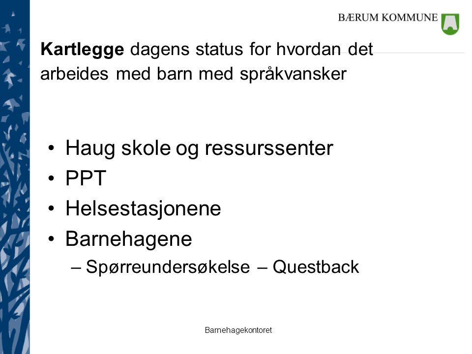 Barnehagekontoret Kartlegge dagens status for hvordan det arbeides med barn med språkvansker Haug skole og ressurssenter PPT Helsestasjonene Barnehagene –Spørreundersøkelse – Questback