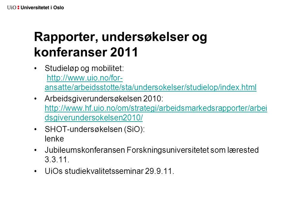 Rapporter, undersøkelser og konferanser 2011 Studieløp og mobilitet: http://www.uio.no/for- ansatte/arbeidsstotte/sta/undersokelser/studielop/index.htmlhttp://www.uio.no/for- ansatte/arbeidsstotte/sta/undersokelser/studielop/index.html Arbeidsgiverundersøkelsen 2010: http://www.hf.uio.no/om/strategi/arbeidsmarkedsrapporter/arbei dsgiverundersokelsen2010/ http://www.hf.uio.no/om/strategi/arbeidsmarkedsrapporter/arbei dsgiverundersokelsen2010/ SHOT-undersøkelsen (SiO): lenke Jubileumskonferansen Forskningsuniversitetet som lærested 3.3.11.