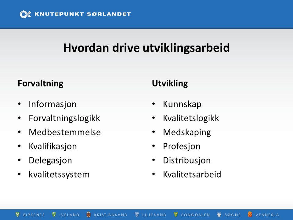 Hvordan drive utviklingsarbeid Forvaltning Informasjon Forvaltningslogikk Medbestemmelse Kvalifikasjon Delegasjon kvalitetssystem Utvikling Kunnskap K