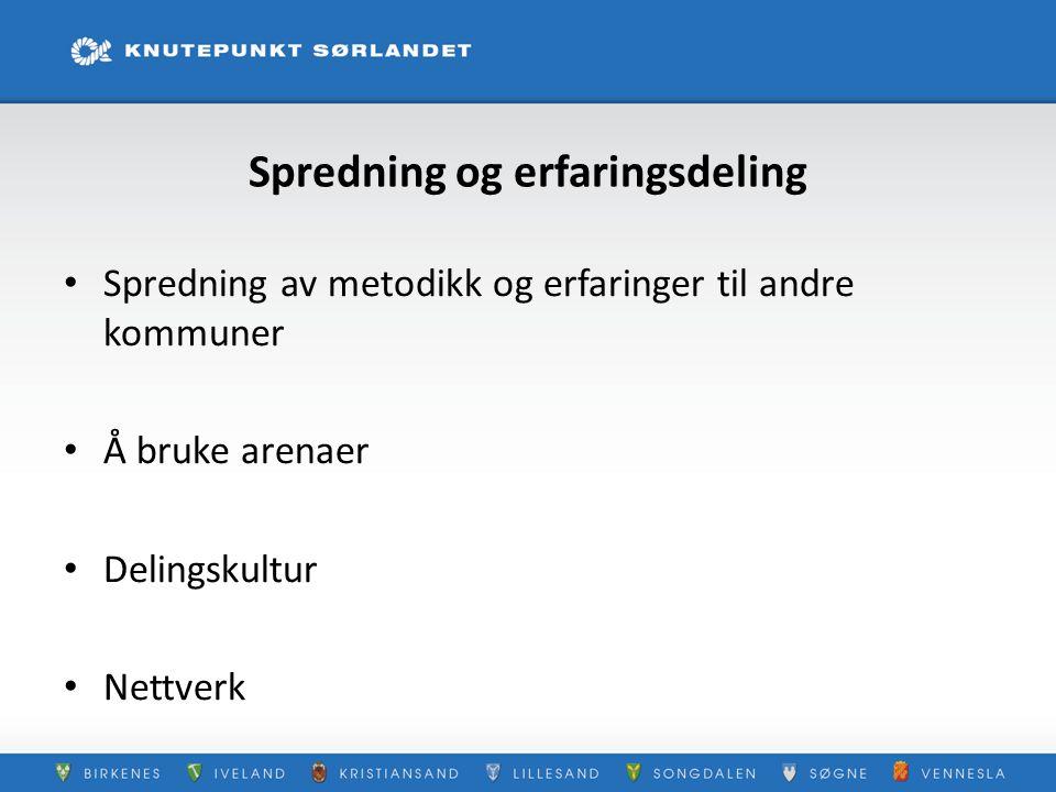 Spredning og erfaringsdeling Spredning av metodikk og erfaringer til andre kommuner Å bruke arenaer Delingskultur Nettverk