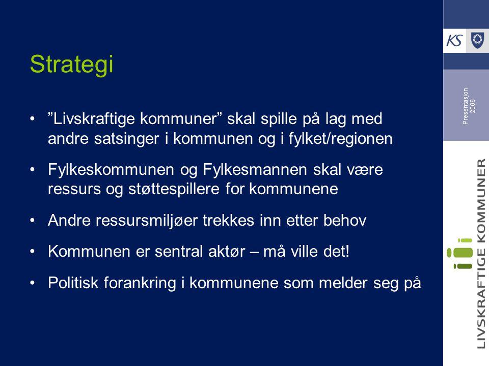 """Presentasjon 2006 Strategi """"Livskraftige kommuner"""" skal spille på lag med andre satsinger i kommunen og i fylket/regionen Fylkeskommunen og Fylkesmann"""