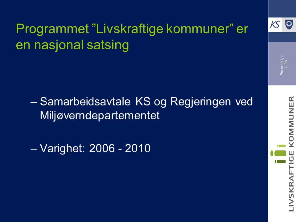 """Presentasjon 2006 Programmet """"Livskraftige kommuner"""" er en nasjonal satsing –Samarbeidsavtale KS og Regjeringen ved Miljøverndepartementet –Varighet:"""