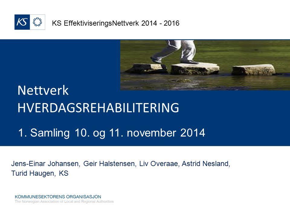 Nettverk HVERDAGSREHABILITERING Mål og kjennetegn på samhandling i vår kommune KS EffektiviseringsNettverk 2014 - 2016 1.
