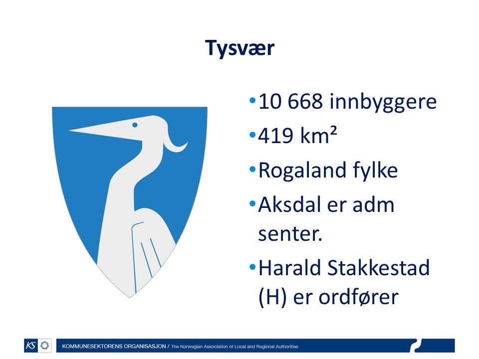Tysvær 10 668 innbyggere 419 km² Rogaland fylke Aksdal er adm senter.