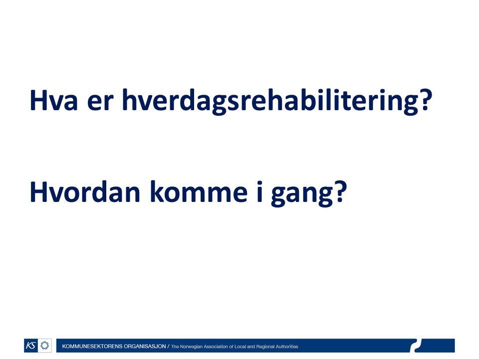 EffektiviseringsNettverkene 2011 Suksesskriterier for hverdagsrehabilitering og dokumentasjon av resultater av tiltak Roland Fürst og Lilian Høverstad
