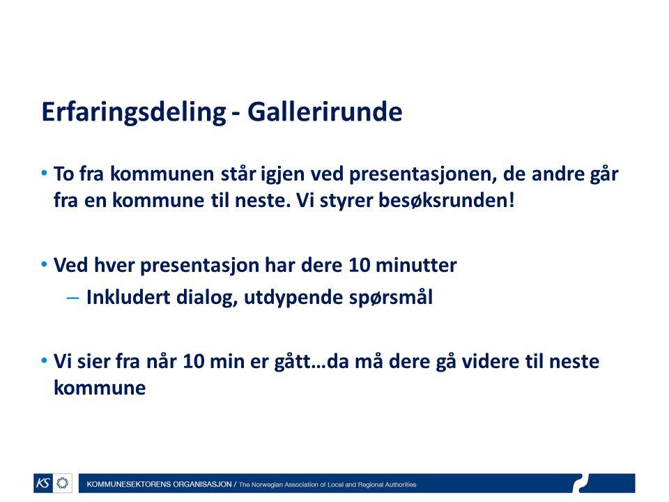 EffektiviseringsNettverkene 2011 Erfaringsdeling - Gallerirunde To fra kommunen står igjen ved presentasjonen, de andre går fra en kommune til neste.