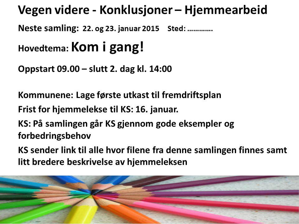 EffektiviseringsNettverkene 2011 Vegen videre - Konklusjoner – Hjemmearbeid Neste samling: 22.