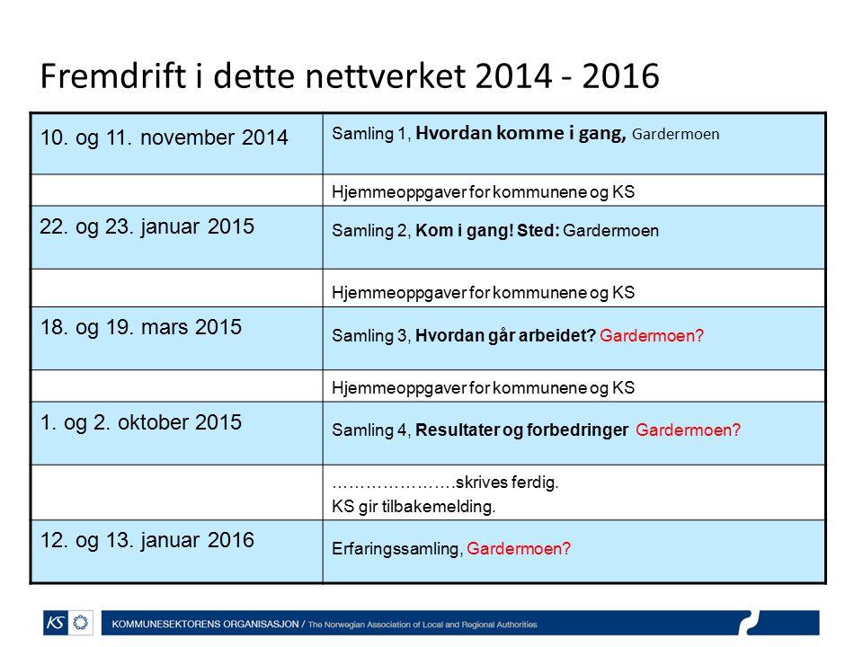 Fremdrift i dette nettverket 2014 - 2016 10.og 11.