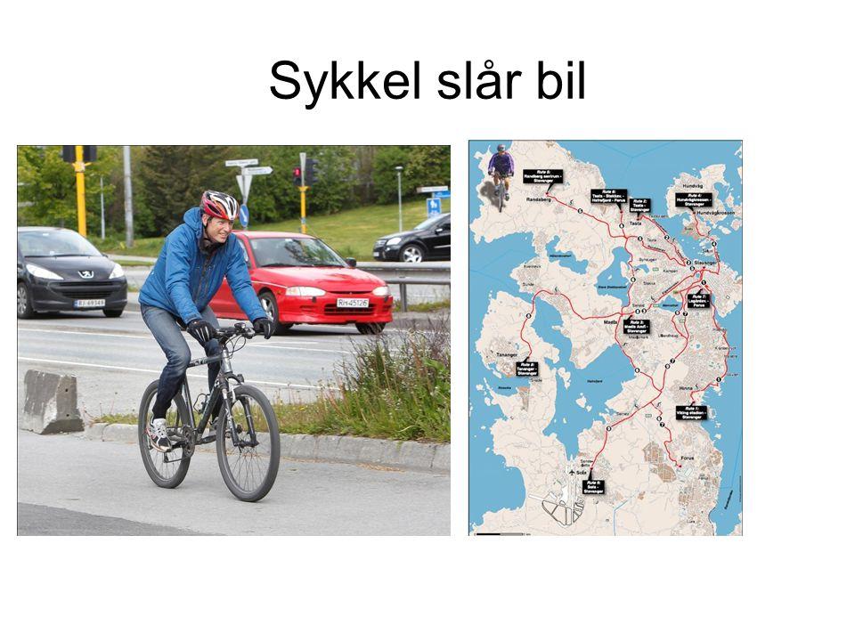 Sykkel slår bil