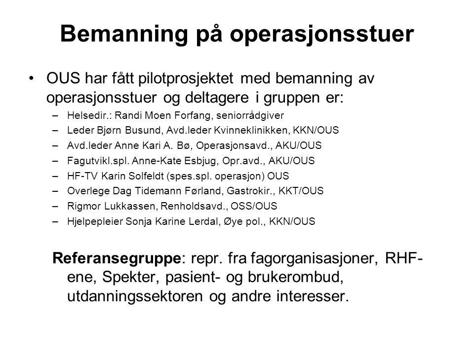 Bemanning på operasjonsstuer OUS har fått pilotprosjektet med bemanning av operasjonsstuer og deltagere i gruppen er: –Helsedir.: Randi Moen Forfang,