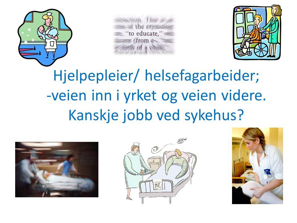 Veien inn i yrket Før; hjelpepleier: 3 år i vg.skole med praksisperioder i ulike deler av helse- og sosialtjenesten.