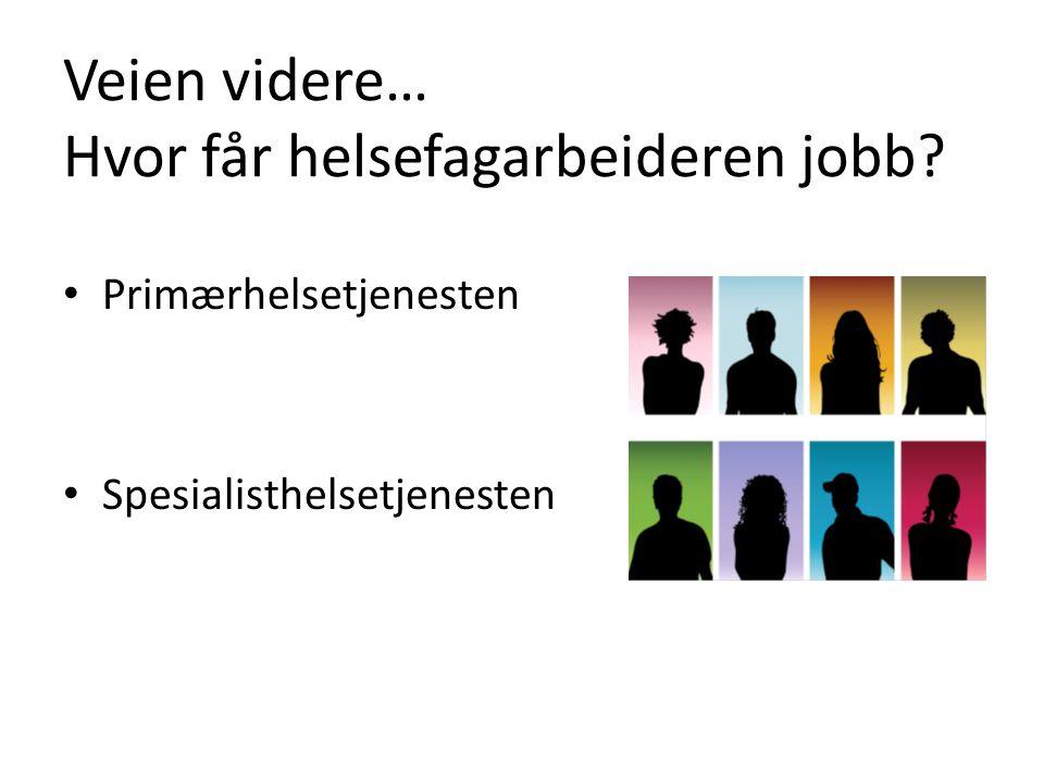 Veien videre… Hvor får helsefagarbeideren jobb? Primærhelsetjenesten Spesialisthelsetjenesten