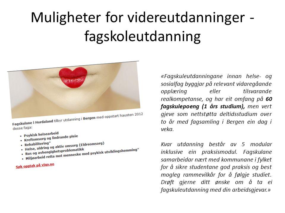 Mer informasjon «Bli helsefagarbeider» http://www.ks.no/helsefagarbeider Læretid: Bergen kommune Opplæringskontoret, http://www.yrkeslabyrinten.no/visartikkel.asp?art=64 Helse Bergen, nettside: http://www.helse- bergen.no/fagfolk/utdanning/Sider/lerlingar-i- helsearbeidarfaget.aspx