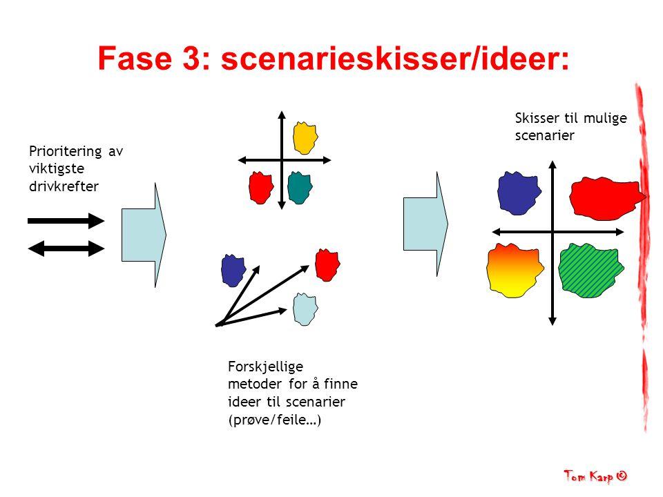 Tom Karp © Fase 3: scenarieskisser/ideer: Forskjellige metoder for å finne ideer til scenarier (prøve/feile…) Skisser til mulige scenarier Prioritering av viktigste drivkrefter