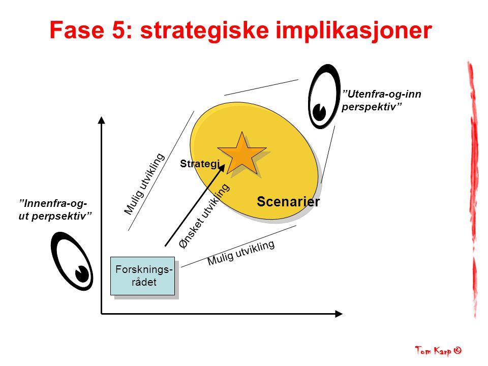 Tom Karp © Mulig utvikling Utenfra-og-inn perspektiv Innenfra-og- ut perpsektiv Fase 5: strategiske implikasjoner Forsknings- rådet Ønsket utvikling Strategi Scenarier