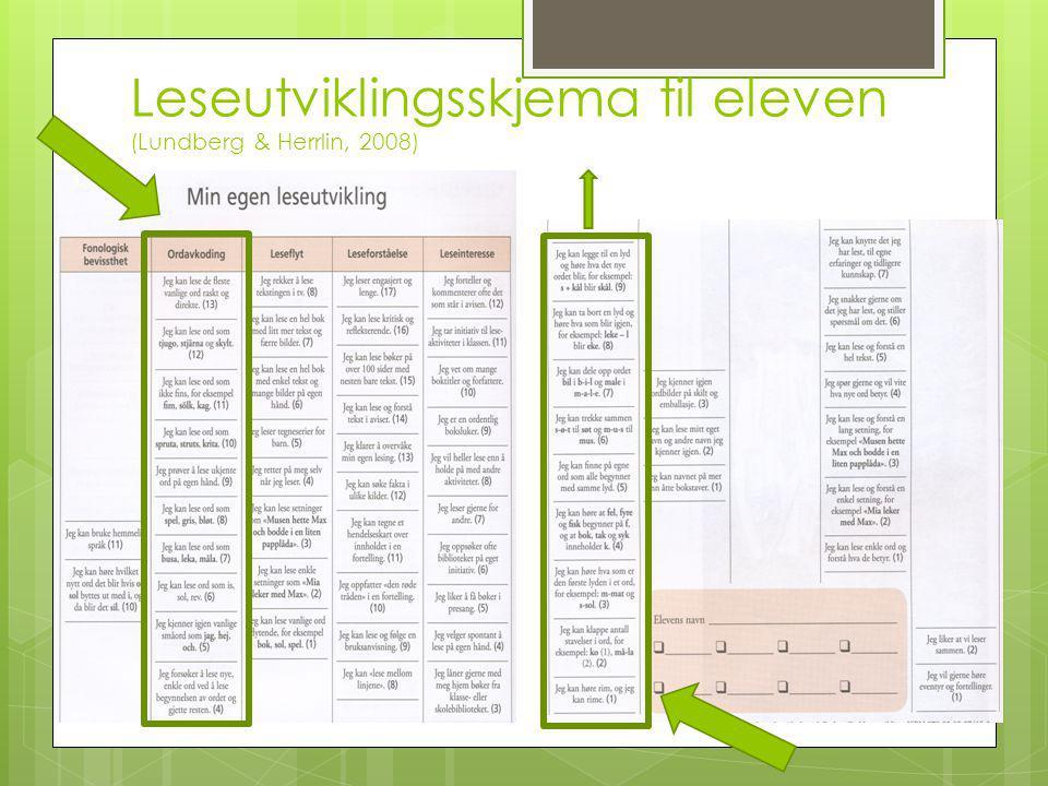 Leseutviklingsskjema til eleven (Lundberg & Herrlin, 2008)